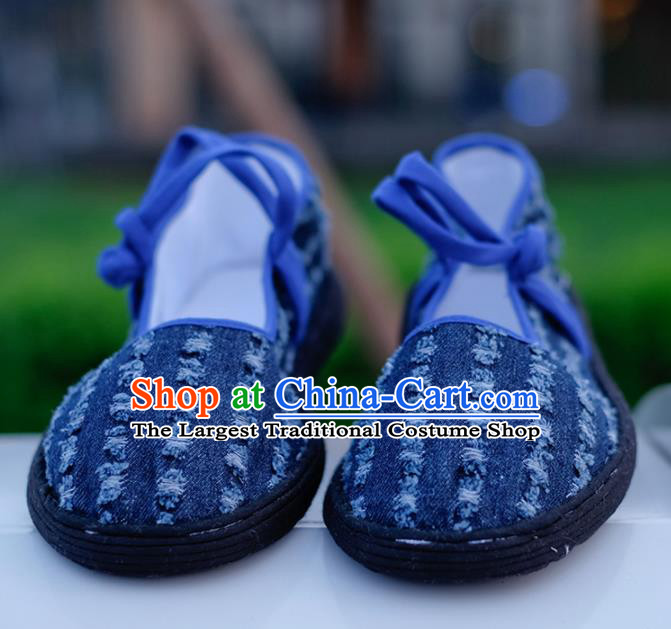 Chinese Handmade Navy Cloth Shoes Traditional National Shoes Ancient Hanfu Shoes for Women