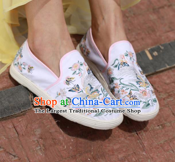 Chinese Handmade Embroidered White Cloth Shoes Traditional National Shoes Ancient Hanfu Shoes for Women