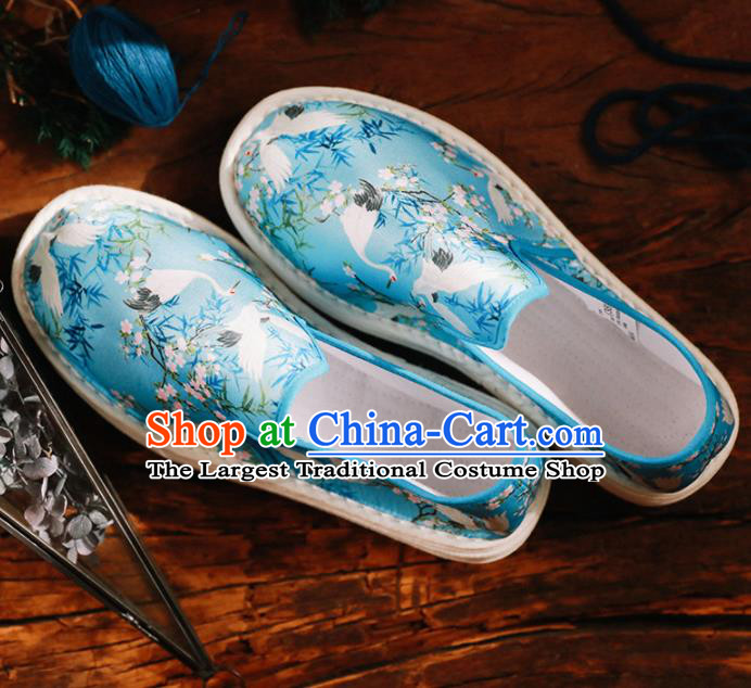 Chinese Handmade Printing Crane Blue Cloth Shoes Traditional National Shoes Ancient Hanfu Shoes for Women