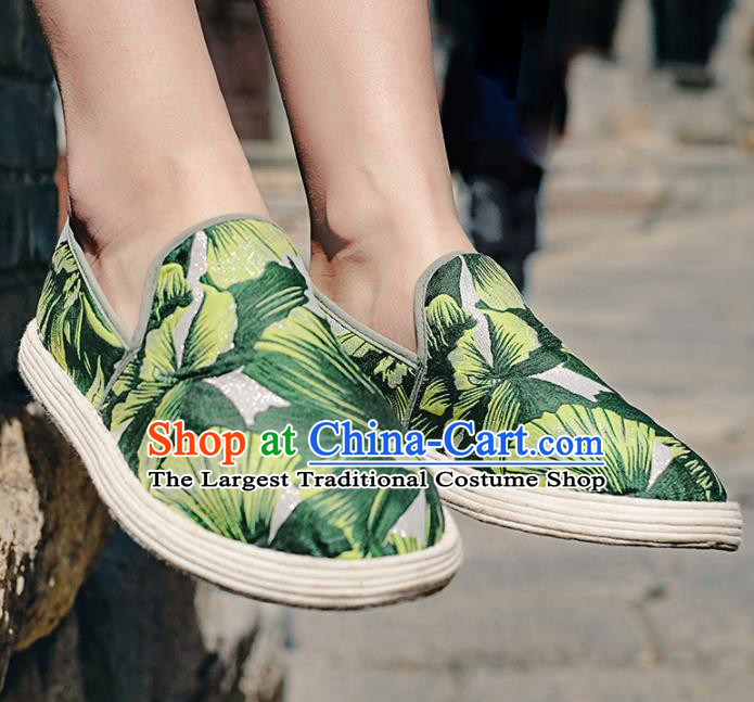 Chinese Handmade Printing Green Cloth Shoes Traditional National Shoes Ancient Hanfu Shoes for Women