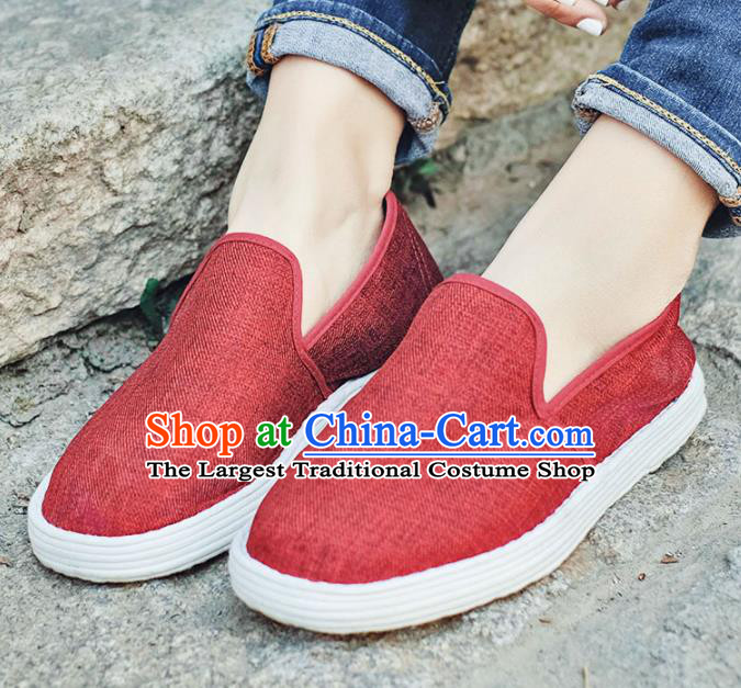 Chinese Handmade Red Cloth Shoes Traditional National Shoes Ancient Hanfu Shoes for Women