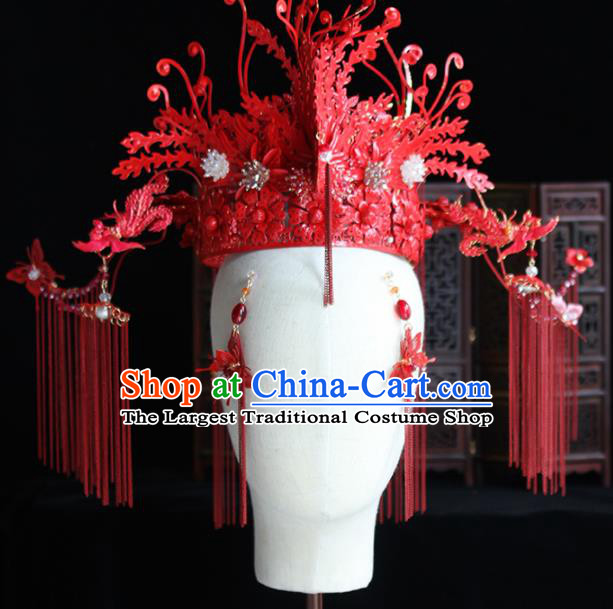 Chinese Handmade Palace Red Phoenix Coronet Hairpins Ancient Princess Hanfu Hair Accessories Headwear for Women