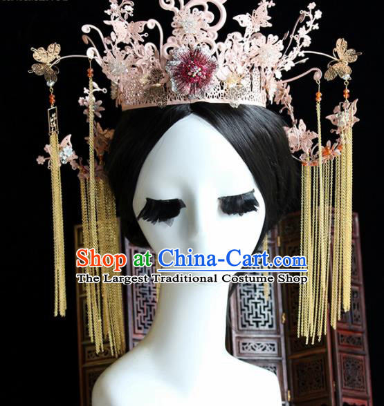 Chinese Handmade Palace Pink Phoenix Coronet Hairpins Ancient Princess Hanfu Hair Accessories Headwear for Women