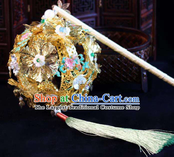 Chinese Traditional Wedding Prop Accessories Ancient Bride Princess Golden Lantern for Women