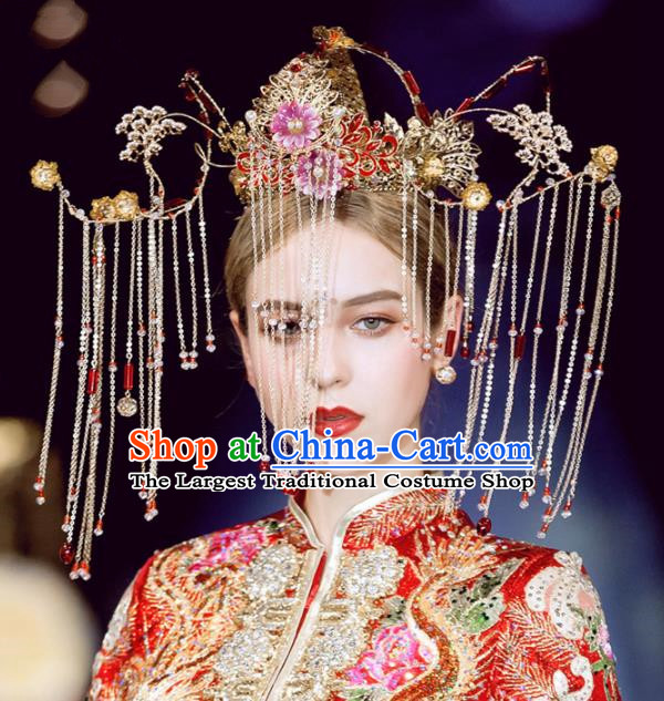 Chinese Handmade Palace Red Cloisonne Phoenix Coronet Hairpins Ancient Princess Hanfu Hair Accessories Headwear for Women