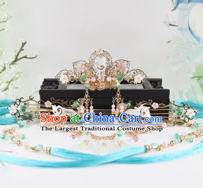 Chinese Handmade Palace Shell Hair Comb Hairpins Ancient Princess Hanfu Hair Accessories Headwear for Women