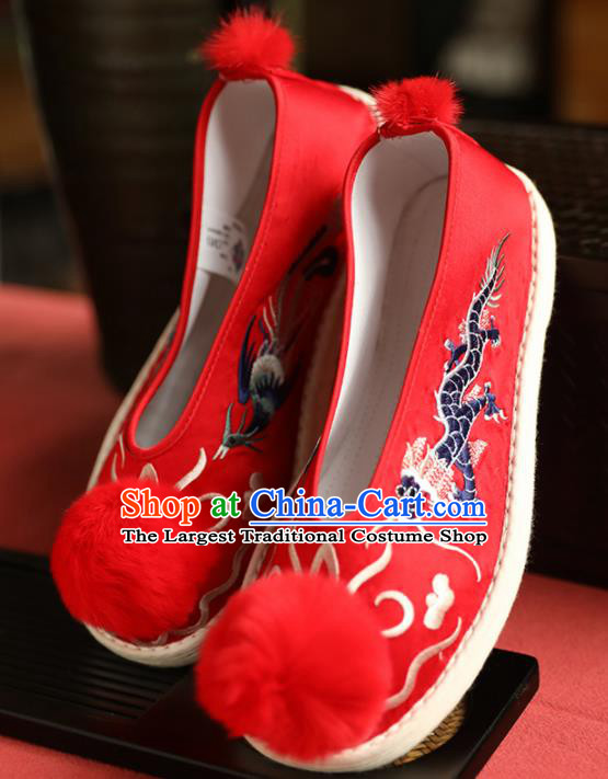 Chinese Handmade Wedding Red Cloth Shoes Traditional National Shoes Ancient Princess Embroidered Hanfu Shoes for Women