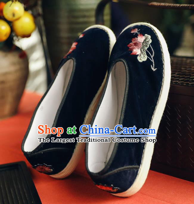 Chinese Handmade Black Cloth Shoes Traditional National Shoes Ancient Princess Embroidered Lotus Hanfu Shoes for Women
