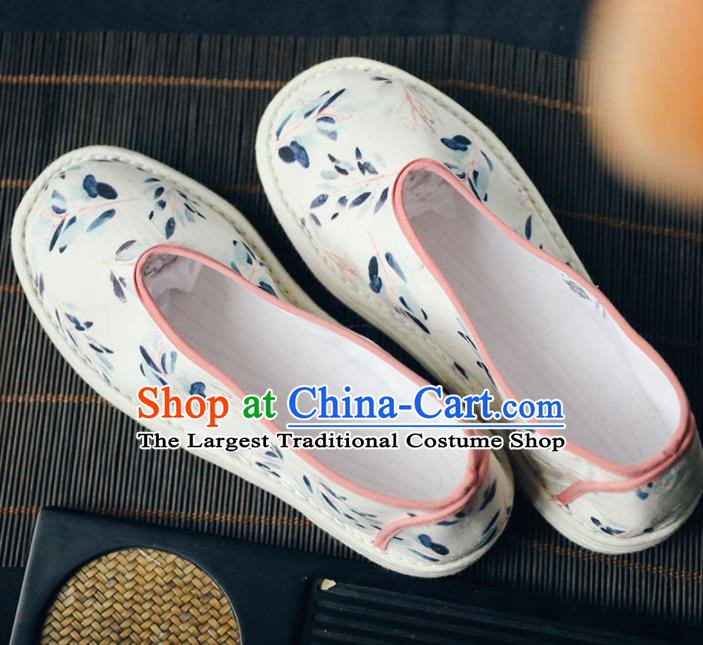 Chinese Handmade White Cloth Shoes Traditional National Shoes Ancient Princess Hanfu Shoes for Women