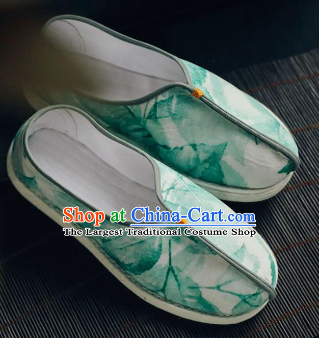Chinese Handmade Green Cloth Shoes Traditional National Shoes Ancient Princess Hanfu Shoes for Women