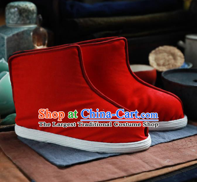 Chinese Handmade Red Cloth Boots Traditional National Shoes Ancient Princess Hanfu Shoes for Women