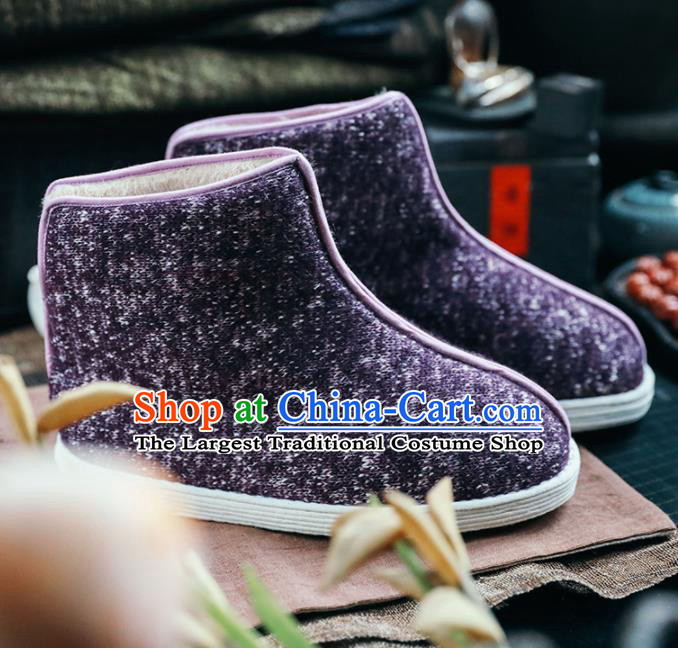 Chinese Handmade Purple Cloth Boots Traditional National Shoes Ancient Princess Hanfu Shoes for Women