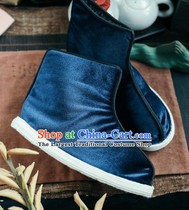 Chinese Handmade Blue Cloth Boots Traditional National Shoes Ancient Princess Hanfu Shoes for Women