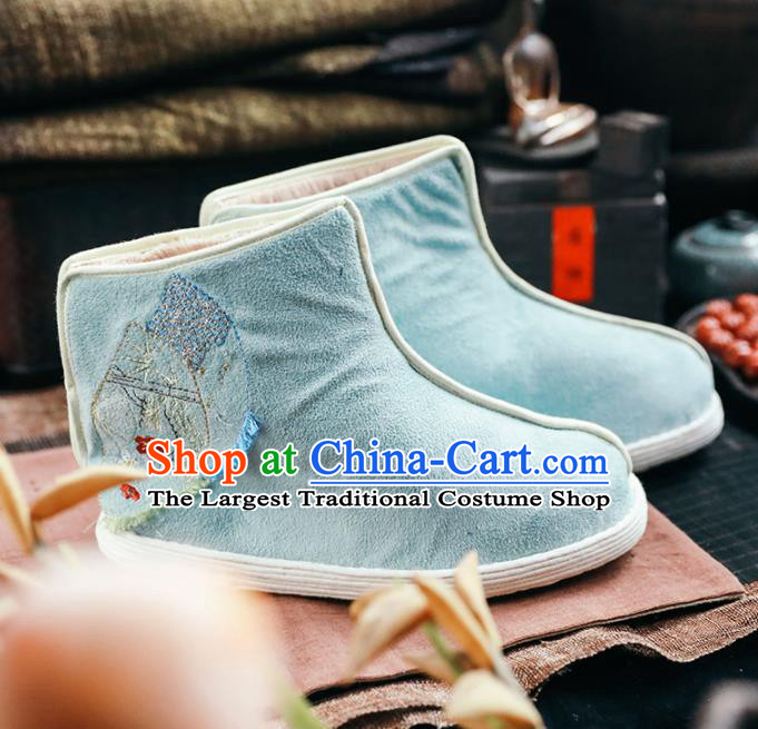 Chinese Handmade Light Blue Cloth Boots Traditional National Shoes Ancient Princess Hanfu Shoes for Women