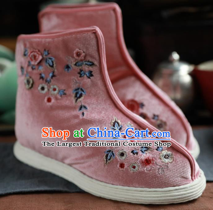 Chinese Handmade Pink Cloth Boots Traditional National Shoes Ancient Princess Hanfu Shoes for Women