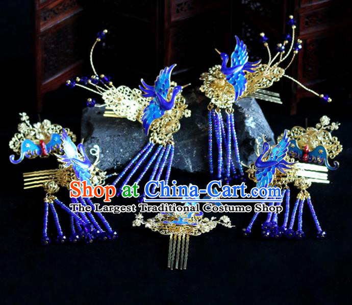 Chinese Handmade Palace Queen Cloisonne Hair Combs Hairpins Ancient Hair Accessories Headwear for Women