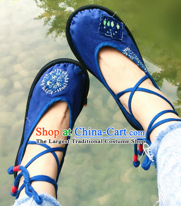 Chinese Handmade Navy Cloth Shoes Traditional National Shoes Ancient Princess Hanfu Shoes for Women