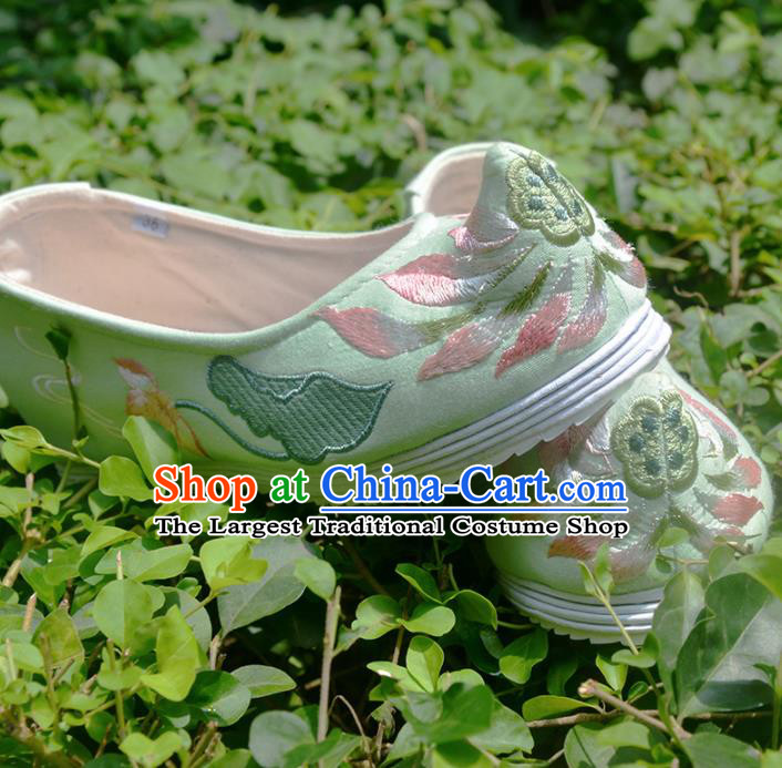Chinese Handmade Satin Shoes Traditional National Shoes Ancient Princess Embroidered Green Hanfu Shoes for Women