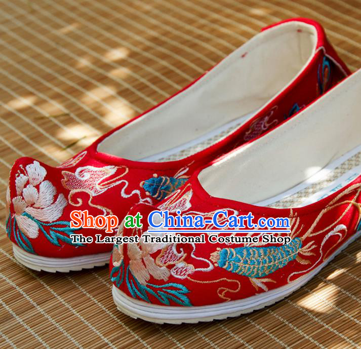 Chinese Handmade Red Satin Shoes Traditional National Shoes Ancient Princess Embroidered Hanfu Shoes for Women