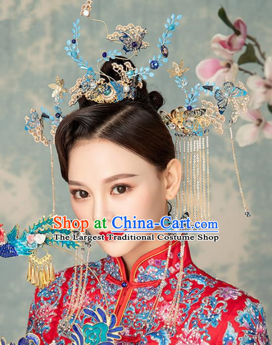 Chinese Handmade Palace Queen Cloisonne Leaf Phoenix Coronet Hairpins Ancient Hair Accessories Headwear for Women