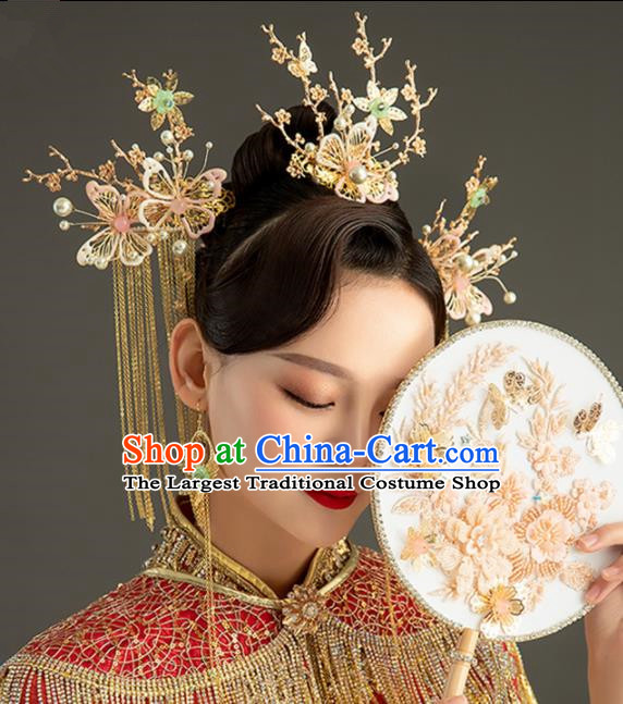 Chinese Handmade Palace Queen Pink Butterfly Phoenix Coronet Hairpins Ancient Hair Accessories Headwear for Women