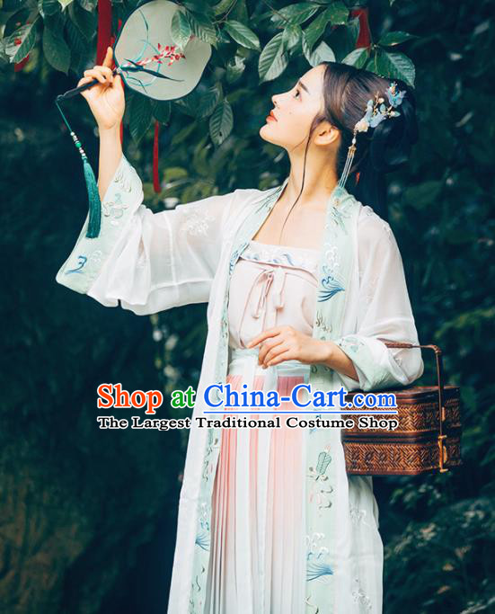 Chinese Traditional Song Dynasty Rich Lady Historical Costume Ancient Peri Embroidered Hanfu Dress for Women