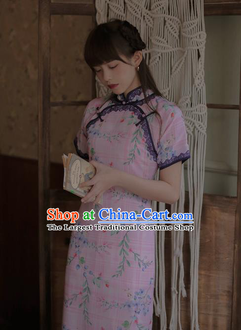Chinese Classical National Printing Pink Cheongsam Traditional Tang Suit Qipao Dress for Women