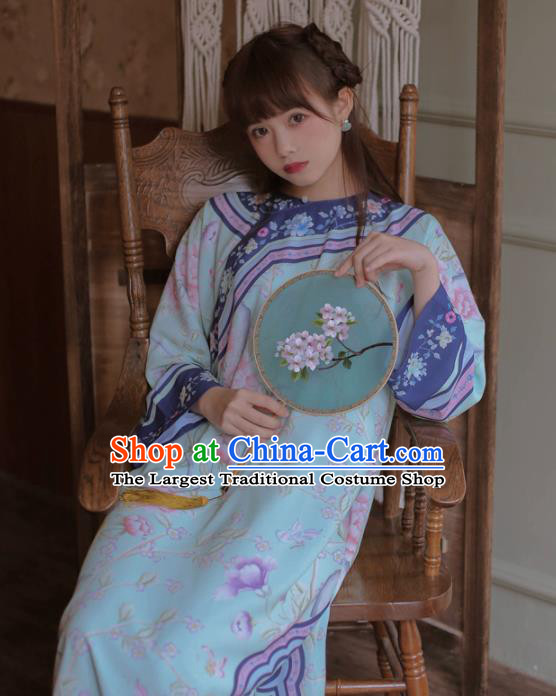 Chinese Classical National Printing Blue Cheongsam Traditional Tang Suit Qipao Dress for Women