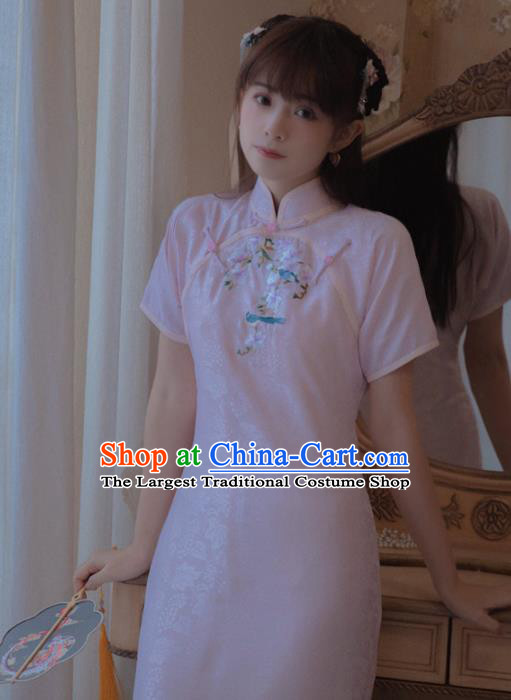 Chinese Classical National Pink Silk Cheongsam Traditional Tang Suit Qipao Dress for Women