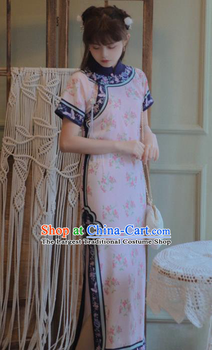 Chinese National Printing Pink Cheongsam Traditional Classical Tang Suit Qipao Dress for Women