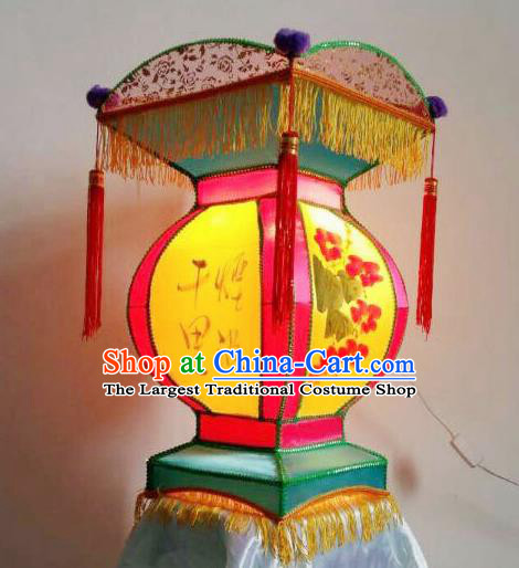 Chinese Handmade Palace Lanterns Ancient Traditional New Year Ink Painting Lantern Ceiling Lamp