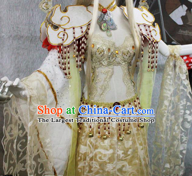 Chinese Traditional Cosplay Peri Costume Ancient Swordswoman Hanfu Dress for Women