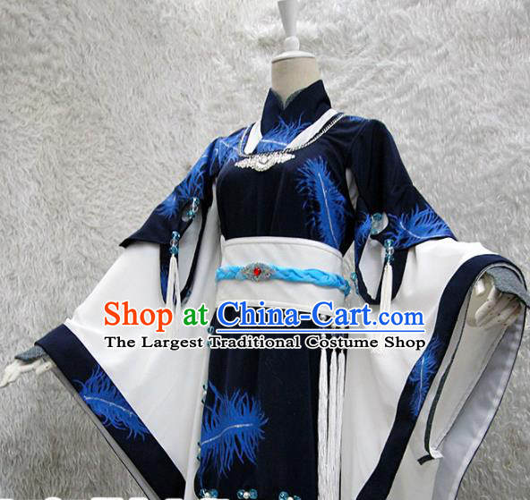Chinese Traditional Cosplay Peri Costume Ancient Swordswoman Navy Hanfu Dress for Women