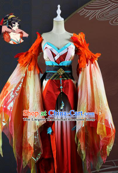 Chinese Traditional Cosplay Game Peri Costume Ancient Fairy Swordswoman Red Hanfu Dress for Women