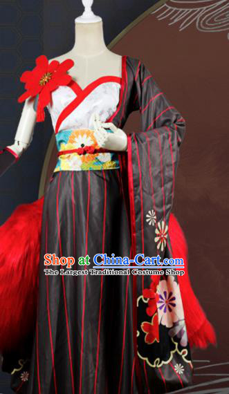 Chinese Traditional Cosplay Game Fox Fairy Costume Ancient Swordswoman Black Hanfu Dress for Women