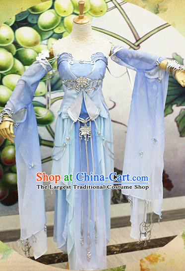Chinese Traditional Cosplay Swordswoman Costume Ancient Peri Princess Blue Hanfu Dress for Women