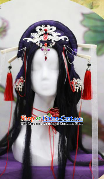 Chinese Traditional Cosplay Peri Wig Ancient Queen Wig Sheath for Women
