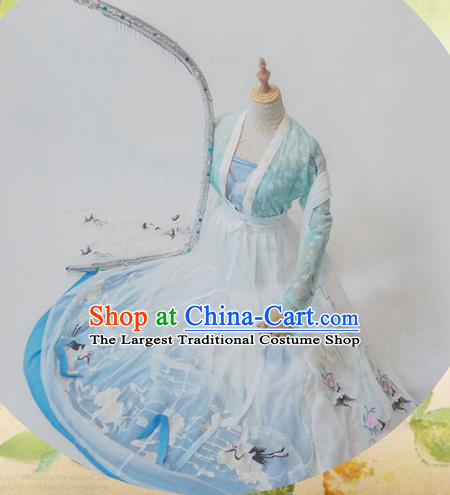 Chinese Traditional Cosplay Tang Dynasty Costume Ancient Princess Green Hanfu Dress for Women