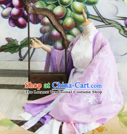 Chinese Traditional Cosplay Jin Dynasty Costume Ancient Peri Princess Purple Hanfu Dress for Women