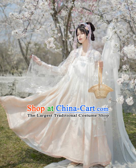 Chinese Ancient Myth Moon Peri Goddess Hanfu Dress Traditional Tang Dynasty Princess Costume for Women