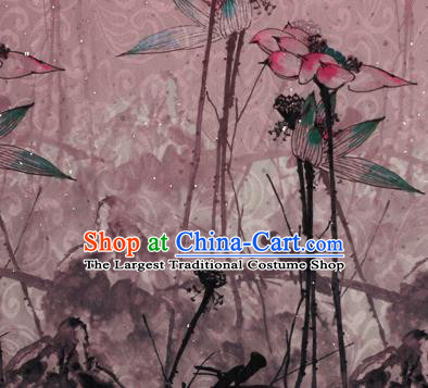 Chinese Traditional Satin Fabric Material Classical Lotus Pattern Design Pink Brocade Cheongsam Silk Fabric