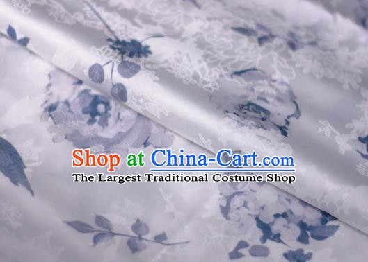 Chinese Traditional Satin Fabric Material Classical Pattern Design White Brocade Cheongsam Silk Fabric