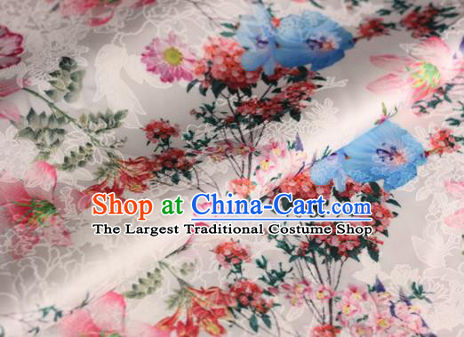 Chinese Traditional Satin Fabric Material Classical Flowers Pattern Design White Brocade Cheongsam Silk Fabric