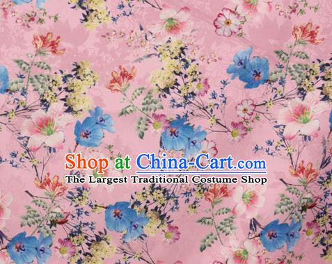 Chinese Traditional Satin Fabric Material Classical Flowers Pattern Design Pink Brocade Cheongsam Silk Fabric