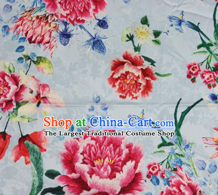 Chinese Traditional Satin Fabric Material Classical Peony Pattern Design White Brocade Cheongsam Silk Fabric