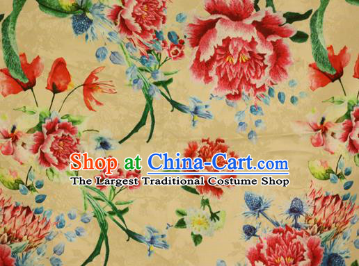 Chinese Traditional Satin Fabric Material Classical Peony Pattern Design Yellow Brocade Cheongsam Silk Fabric