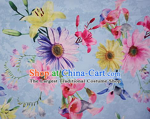 Chinese Traditional Fabric Classical Daisy Pattern Design Blue Brocade Cheongsam Satin Material Silk Fabric