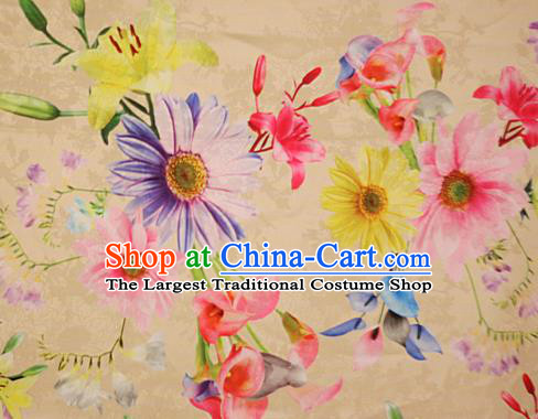 Chinese Traditional Fabric Classical Daisy Pattern Design Yellow Brocade Cheongsam Satin Material Silk Fabric