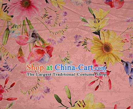 Chinese Traditional Fabric Classical Daisy Pattern Design Pink Brocade Cheongsam Satin Material Silk Fabric