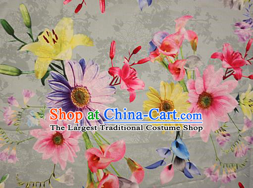 Chinese Traditional Fabric Classical Daisy Pattern Design White Brocade Cheongsam Satin Material Silk Fabric